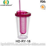 16oz Plastic Fruit Infuser Cup with Straw
