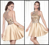 Halter Mini Party Prom Gowns Champagne Applique New Cocktail Dresses Y2007