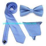 Latest Jacquard Small Plaid Neck Tie Bow Tie Hanky Tie Set for Men