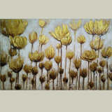 Modern Handmade Decorative Floral Canvas Painting with Golden Foiled Flowers (LH-186000)