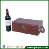 Red PU Leather Wrapping Wooden Wine Bottle Box with Handle