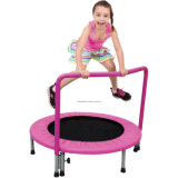 Round Mini Trampoline with Handrail for Kids