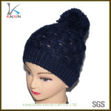 Wholesale Navy Crochet Winter Warm POM POM Beanie Knitted Hat