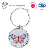 Customized Embroidered Sublimation Wine Charm- Butterflies