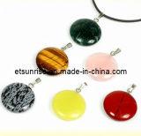 Fashion Natural Crystal Amethyst Tiger Eye Coin Pendant