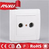 White Double TV Socket Wall Socket (N-LTV+FM)