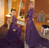 Purple Sequins Lace Mother of Bride Dress Arabic Muslim Evening Dresses Z7046