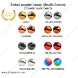 Slotted Tungsten Beads Counter Sunk Beads Fly Tying Beads-Metallic Color 08A-014