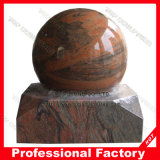 Red Stone Rolling Ball Fountain with Earth Map Ball