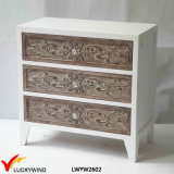 White 3 Drawers Solid Wood Antique Hand Carved Furniture