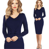 New Ladies Long Sleeve Casual V Neck Slim Pencil Dress