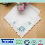Ladies Flower Stitched 100% Cotton White Handkerchief
