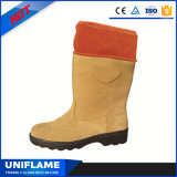 Suede Leather Knee Boot Rubber Safety Boots Steel Toe