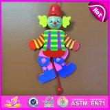 2016 Most Popular Kid Wooden Clown, Top Sale Wooden Cartoon Clown, Best Fashion Pull Toy Wooden Clown W02A059A