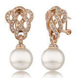 Rose Gold Jewelry Alloy Crystal Pearl Earring Design