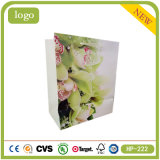 Green Flowers OEM Logo Printed Cheap Clothing Coated Paper Bag