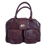 Burgundy Lambskin Leather Handbag (DS12288SL)