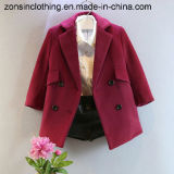 Lapel Thickened Girls′ Woolen Coat Children Clothes