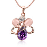 Beautiful Design Bee Shape Purple Crystal Pendant Necklace Rose Gold Plated Hot Sale Jewelry