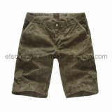 Printed Green 100% Cotton Men′s Shorts (PSH42613)