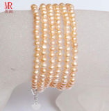 2-3mm Long Small Size Pink Round Freshwater Pearl Bracelet, Pearl Jewelry