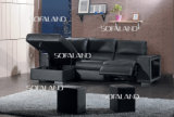 Black Color Recliner and Storage Chaise Lounger Corner Sofa