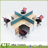 60mm Fabric Partition Desk Modern MDF Curve L Shape 4 Person Office Workstation