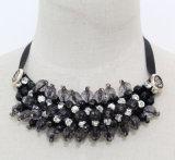 Grey Crystal Fashion Charm Chunky Choker Collar Necklace (JE0158)