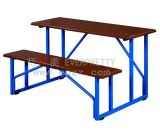 New Design School Furniture Wooden Double Student Desk and Bench