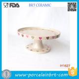 Ceramic Beige Cake Holder Heart Pattern Cake Stand