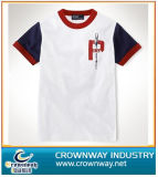 Customize Design Men′s White Printed Combed Cotton T-Shirt