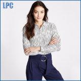 Cotton Silk Striped Long Sleeve Shirt for Women