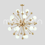 Modern Simple Golden Dandelion Shape Glass Ball Chandelier for Living Room