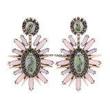 New Fashion Jewelry Retro Pattern Gem Crystal Rivet Female Earrings