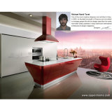 Red Lacquer Kitchen Cabinet (OP12-L062)
