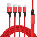 C3570 Nylon Braided 3 in 1 Fast Charging Phone Cable USB Cable Data Cable