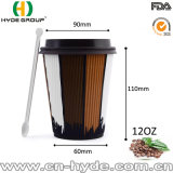 Disposable Ripple Paper Coffee Cup for Hot Drinking (12 oz)