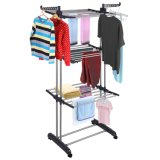 3 Layer Adjustable Powder Coated Cloth Drying Rack with Wheels (JP-CR300W)