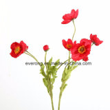 New Design Artificial Poppy Red Poppy with 3 Flowers Heads Red Color Artificial Poppyflowers for Sale
