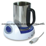 USB Cup Warmer with 4 Ports USB Hub and LCD for Time and Temperature Display