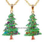 Enamel Christmas Tree Pendant Necklace (XJW13338)