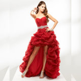 Women Organza Sleeveless Crystals Sweetheart Neck Evening Party Prom Dress