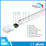 CE/RoHS/TUV Brightness 1200mm 4 Feet 18W LED T8 Tube Light