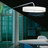White Standing Lamp with Fabric Shade / Arc Floor Lamp