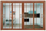 Modern Design Wooden Color PVC Sliding Door with Grill Design