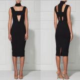 Black Deep V Neck Slim Sleeveless Women Dress