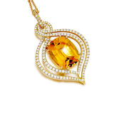 Citrine Micro CZ Setting 925 Silver Pendants Jewelry