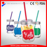 Wholesale Canning Mason Jar Drinking Glass with Straw Tin Lids