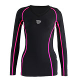 Black Color Womens Running V Neck Shirt (SRC234)