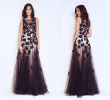 Ladies Embroidered Evening Dress with Gauze Sleeveless Party Dress